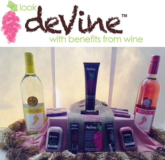 deVine products with logo pictured with wine