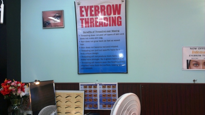 Threading Salon Store-work area. Signage and Pricing
