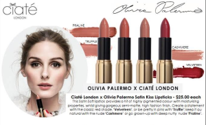 Ciate' Satin Kiss Lipsticks featured in 4 shades.